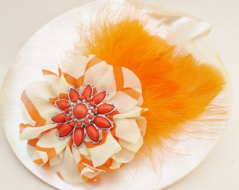Orange Fascinator, Feather Hair Clip with White and Orange Stripe Fabric Flower and Recycled Sunburst Focal
