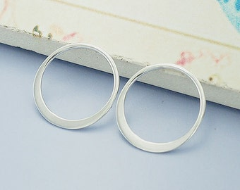 4 of 925 Sterling Silver Circle Links, Connectors 15 mm. :tk0016