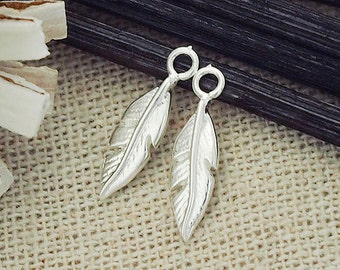 2 of 925 Sterling Silver Tiny Feather Charms  4x13mm. :tm0008
