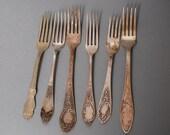 Set of 6 Antique metal different  forks, alpacca, Art Nouveau decor