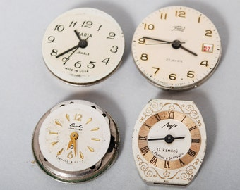 Set of 4 small vintage watch movement, watch parts, watch faces, cases