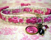 Safety cat collar - Toy Dog Collar - Small Dog Collar - Personalized Name - Breakaway  - Pet Tag - Cat Tag - Antique Brass - Pink Roses