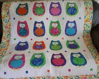 Handmade Applique Bright Owl Quilt