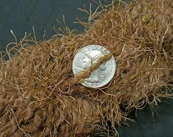 Handspun Yarn - Medium Brown Alpaca and Fizz Novelty Yarn in Shades of Brown