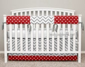 Bumperless Crib Bedding - Crib Skirt, Teething Crib Rail Cover - Connor6 - Red, Gray, White - TS2