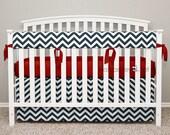 Bumperless Crib Bedding - Crib Skirt, Teething Crib Rail Cover - Navy Chevron, Red Ribbon Ties - Reagan - TS0
