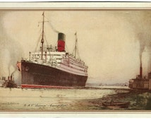 1932 Cunard Line RMS Laconia Ocean Liner Abstract of Log, James S. Mann, Signed, Ocean Ship Voyage Record, Vintage Color Ephemera