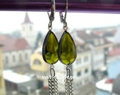 Tassel earrings, chain earrings, long, olive green, resin, framed crystal, rectangle, very long, 2015 trend, silver plt, wedding, bridesmaid