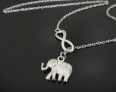 Infinity and Elephant Lariat Style Necklace