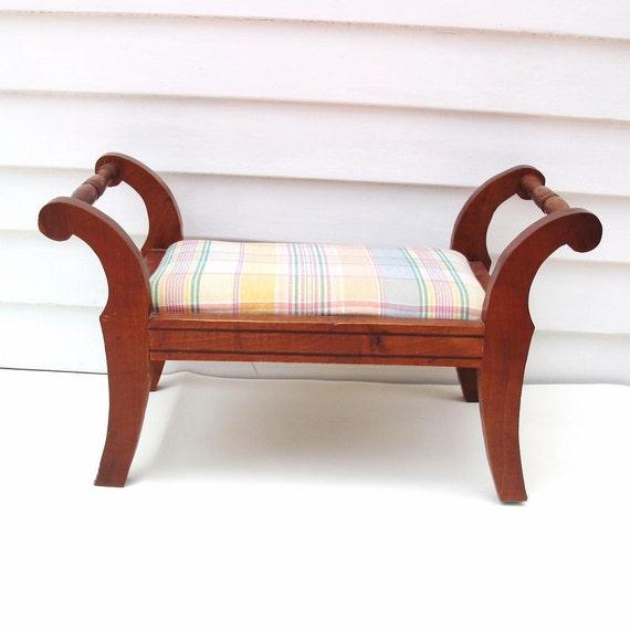 Vintage Wood Foot Stool Wooden Footstool Upholstered Step