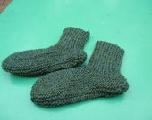 Beautiful Baby Green Bed Socks Hand Knitted for a Baby Boy