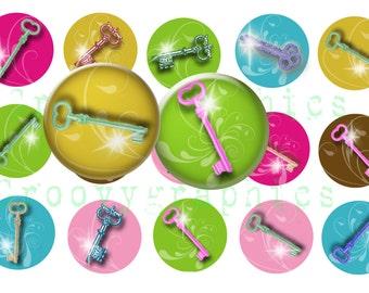 Colorful keys 1 inch  bottle cap images-Digital collage sheet-Bottlecap images-Digital clipart-Scrapbooking-Pendants- BUY 3 get 1 FREE