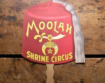 Vintage Red Fez Advertising Fan - Moolah Shrine Circus Paper Fan