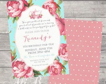 Floral Tea Party Birthday Invitation Printable