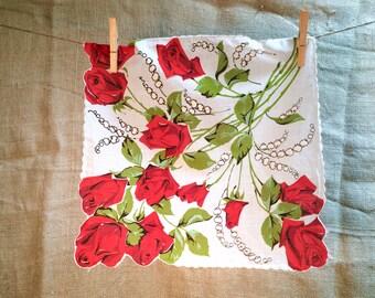 Red Rose Bouquet Vintage Hanky • Vintage Hankies •  Handkerchief •  Hanky • Hankies