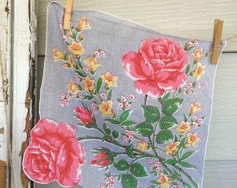 Pink Rose Vintage Hanky • Vintage Hankies • Vintage Hanky • Hankies • Hankies