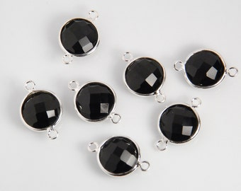 2 pieces: Grade AAA black onyx gemstone bezel connector, round shape, sterling silver frame, size approx. 11mmX17mm