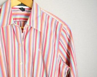 Vintage 90s Ralph Lauren Pink Green Striped Button Up Down Shirt // womens medium // petite large