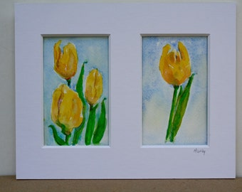 Tulip Painting - Original Watercolor - Yellow Tulips - watercolor flowers - Spring floral - Fine Art Home Decor - wall art - OOAK