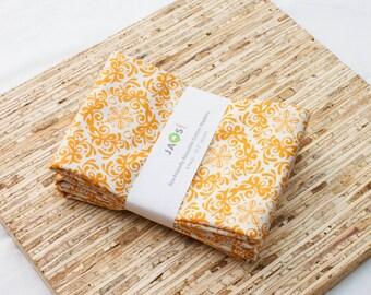 Large Cloth Napkins - Set of 4 - (N2522) - Orange Medallion Modern Reusable Fabric Napkins