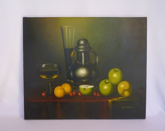 VINTAGE STILL LIFE/ Original Oil Painting by Firenzia