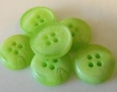 """6 Lime Green Swirled Round Buttons Size 9/16""""."""