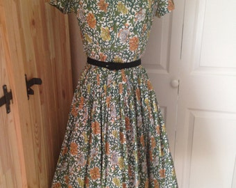 1950s/60s Botanical Beauty Cotton Day Dress - S