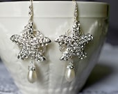 Bridal Earring Wedding Earring Rhinestone Earring Crystal Pearl Dangling Earring Starfish Earring Beach Wedding ER055LX