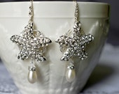 Bridal Earring Wedding Earring Rhinestone Earring Crystal Pearl Dangling Earring Starfish Earring Beach Wedding ER055LX