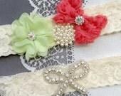 Wedding Garter Bridal Garter Coral Red Mint Green Lace Garter Set Rhinestone Garter Crystal Pearl Garter Beach Wedding GR161LX