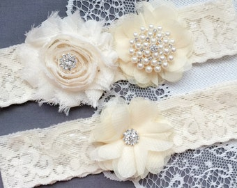 Wedding Garter Belt Set Bridal Garter Set Ivory Lace Garter Belt Lace Garter Set Rhinestone Crystal Pearl Center Garter GR178LX