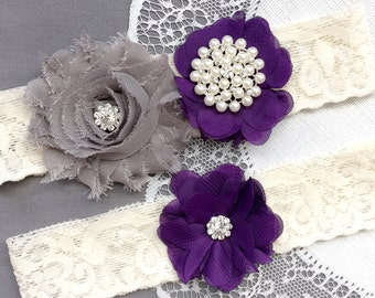 Wedding Garter Belt Set Bridal Garter Set Ivory Lace Garter Belt Dark Purple Garter Set Rhinestone Crystal Pearl Garter GR184LX