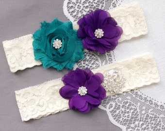 Wedding Garter Set Bridal Garter Set Lace Garter Set Rhinestone Garter Set Crystal Peacock Garter Dark Purple Turquoise GR193LX