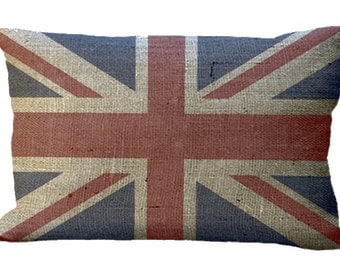 Burlap Union Jack Lumbar Oblong or Square in Choice of 18x12 20x13 22x12 24x16 16x16 18x18 20x20 22x22 24x24 26x26 Inch Pillow Cover