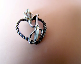 """Vintage 70's  """"INITIAL J CHARM"""" With Bale With Rope Heart Shape Frame."""
