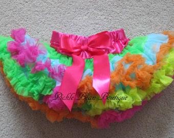 Baby Girl 1st Birthday Outfit - Girls Rainbow Pettiskirt - 1-2 years Ready To Ship - Hot Pink Blue Orange Yellow Green Petti Skirt Tutu Kids