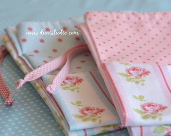 Cottage Chic Laundry Bag. Pink Rose Stripes. Large Drawstring Bag. Rose and Polka Dot Print  europeanstreetteam