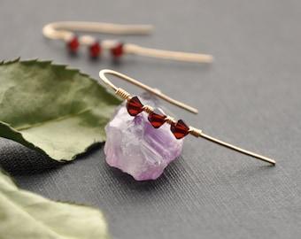 Gold Garnet Earrings, Red Crystal Earrings, Gold Red Earrings, Birthstone Earrings, Birthstone Jewelry, Minimal Sparkly Earrings