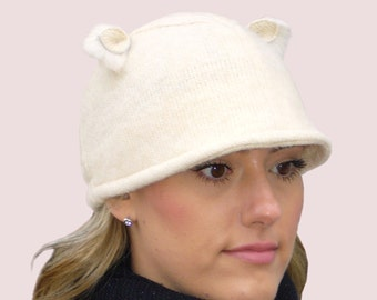 Snow Piglet Extra Warm Beanie Cap with Animal Ears in Cream Winter White Cashmere Blend Knit and Rabbit Fur Trim