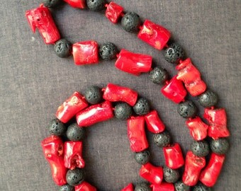 Red coral and lava beads necklace