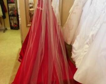 "Cathedral wedding veil long, 108"" long veil, white,  ivory, diamond white"