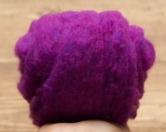 Purple Needle Felting Wool, Wool Batting, Batts, Wet Felting, Spinning, Dyed Felting Wool, Fiber Art Supplies