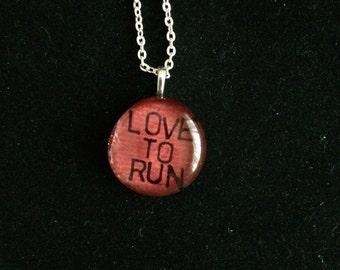Love to Run art glass pendant necklace - 5k half marathon ultra triathlon running jewelry gift