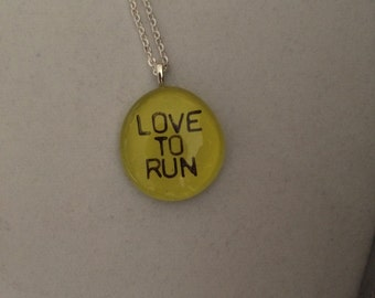 Love to Run art glass pendant necklace - 5k half marathon running jewerly gift