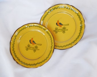 Made in Italy, Hand Painted Bird Plates, Ceramic, Pottery, Golden Luster, set of 2