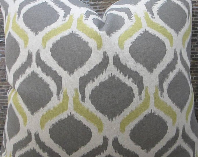 Designer Pillow Cover - Lumbar, 16 x 16, 18 x 18, 20 x 20, 22 x 22 - Geo Peacock Eye Ikat Yellow