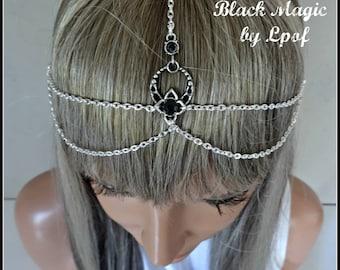 Head Chain Hair Accessories Head Jewelry Headpiece Hair Jewelry Hair Chain Headpiece Boho Head Piece Gypsy Headdress - Black Magic Sil
