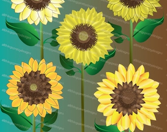 Yellow Sunflower Clip Art High Res Digital Graphic Scrapbooking