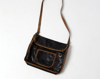 1920s school bag, vintage black messenger bag, satchel