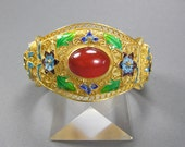 Chinese Export Bracelet, Vermeil Filigree Enamel, Carnelian Cabochon, Vintage Chinese Jewelry